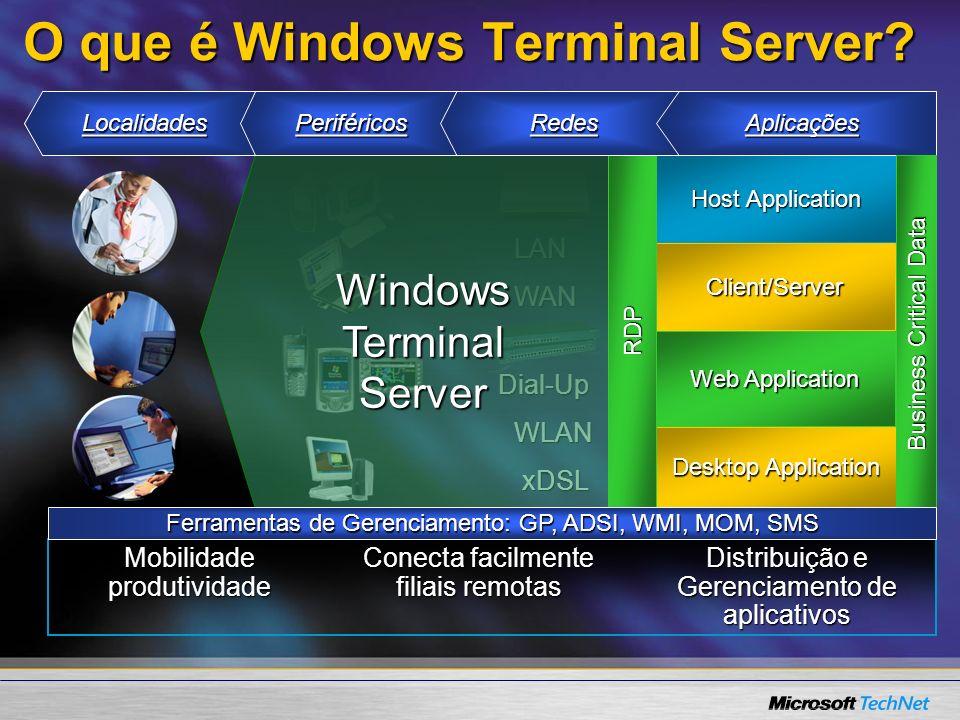 Mais Informações: Windows Server 2003 Terminal ServerWindows Server 2003 Terminal Server –www.microsoft.com/windowsserver2003/technologies/terminalservices www.microsoft.com/windowsserver2003/technologies/terminalservices Windows 2000 Terminal ServicesWindows 2000 Terminal Services http://www.microsoft.com/terminalserver DocumentosDocumentos –Security http://www.microsoft.com/downloads/details.aspx?FamilyID=402a0cd1- 9e4d-4007-8eaf-c30623e71250&DisplayLang=enhttp://www.microsoft.com/downloads/details.aspx?FamilyID=402a0cd1- 9e4d-4007-8eaf-c30623e71250&DisplayLang=enhttp://www.microsoft.com/downloads/details.aspx?FamilyID=402a0cd1- 9e4d-4007-8eaf-c30623e71250&DisplayLang=enhttp://www.microsoft.com/downloads/details.aspx?FamilyID=402a0cd1- 9e4d-4007-8eaf-c30623e71250&DisplayLang=en –TS Licensing in WS2003 http://www.microsoft.com/windowsserver2003/howtobuy /licensing/ts2003.mspxhttp://www.microsoft.com/windowsserver2003/howtobuy /licensing/ts2003.mspxhttp://www.microsoft.com/windowsserver2003/howtobuy /licensing/ts2003.mspxhttp://www.microsoft.com/windowsserver2003/howtobuy /licensing/ts2003.mspx –Session Directory white paper http://www.microsoft.com/windows.netserver/techinfo/overview/ses siondirectory.mspxhttp://www.microsoft.com/windows.netserver/techinfo/overview/ses siondirectory.mspxhttp://www.microsoft.com/windows.netserver/techinfo/overview/ses siondirectory.mspxhttp://www.microsoft.com/windows.netserver/techinfo/overview/ses siondirectory.mspx –Using Software Restriction Policies http://www.microsoft.com/windowsxp/pro/techinfo/administration/restriction policies/default.asphttp://www.microsoft.com/windowsxp/pro/techinfo/administration/restriction policies/default.asphttp://www.microsoft.com/windowsxp/pro/techinfo/administration/restriction policies/default.asphttp://www.microsoft.com/windowsxp/pro/techinfo/administration/restriction policies/default.asp