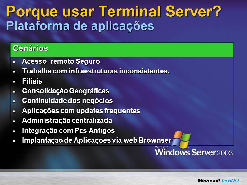 Porque usar Terminal Server? Plataforma de aplicações Cenários Acesso remoto Seguro Acesso remoto Seguro Trabalha com infraestruturas inconsistentes.