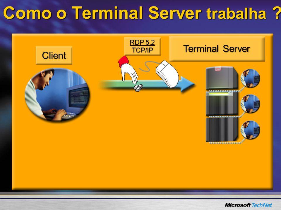 www.microsoft.com/windows.netserver/techinfo/overview/sessiondirectory.mspx Balanceamento de Carga Session Directory :Como fazer 1.Planejar a Implementação 2.Iniciar o serviço Session Directory no servidor Session Directory (SD) 3.Adicionar contas de computador no grupo Session Directory Computers no servidor SD 4.Configure Terminal Servers para apontar para o SD ( Session Directory ) server –GUI (não recomendado) –Group Policy (recomendado) Colocar os servidores de terminal numa OU e aplicar a política na OUColocar os servidores de terminal numa OU e aplicar a política na OU –Scripts usando WMI – MSDN.microsoft.com