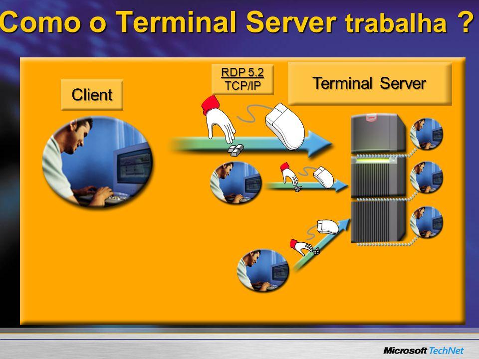 RDP 5.2 TCP/IP Client Terminal Server Como o Terminal Server trabalha ?