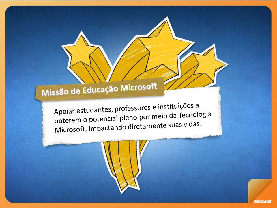 8 Milhões de brasileiros capacitados 2003/2010 É responsável por 25 centros de inovação no país Do total de impostos gerados pela área de TI no país, 60% São movimentados pelo ecossistema Microsoft 418 mil Profissionais de TI trabalham com soluções Microsoft 18 mil Empresasparceiras14Escritórios no país 600Funcionáriosdiretos Transformar a vida de milhares de Brasileiros a partir do fomento de: Compromisso Microsoft Compromisso com a inclusão digital Incentivo à pesquisa local Apoio ao empreendedorismo Capacitação para o mercado de trabalho Qualidade da educação