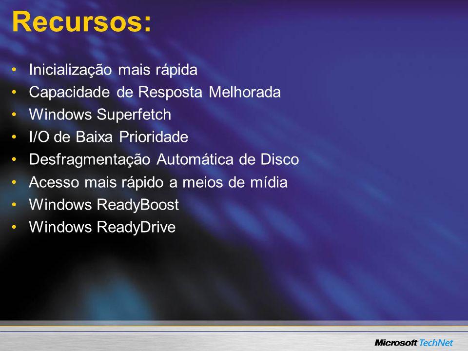 Recursos: Inicialização mais rápida Capacidade de Resposta Melhorada Windows Superfetch I/O de Baixa Prioridade Desfragmentação Automática de Disco Ac