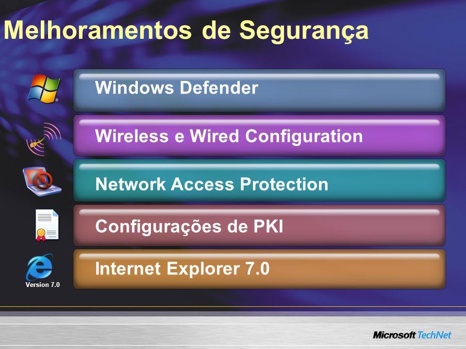 Melhoramentos de Segurança Version 7.0 Windows Defender Wireless e Wired Configuration Network Access Protection Configurações de PKI Internet Explore