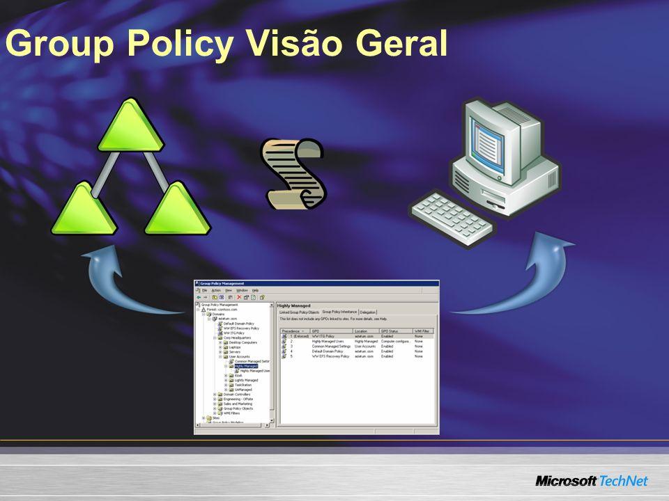 HelloHola Melhoramentos com o Windows Vista Extended Coverage Reliable and Efficient Application of Policy Ease of Use SYSVOL