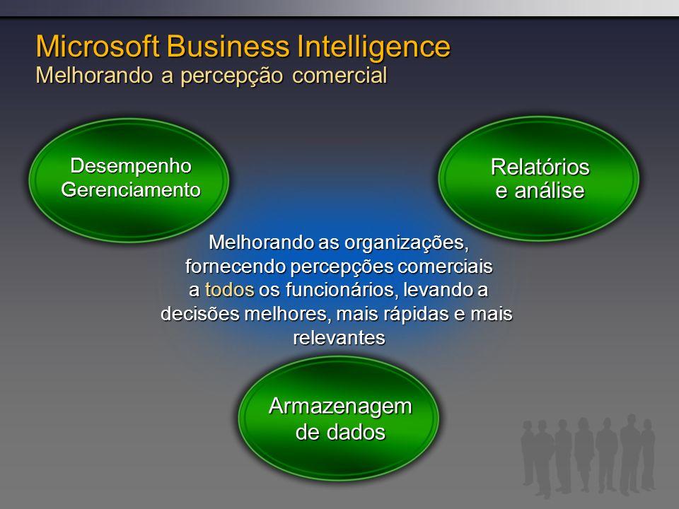 DesempenhoGerenciamento Relatórios e análise Armazenagem de dados Melhorando as organizações, fornecendo percepções comerciais a todos os funcionários