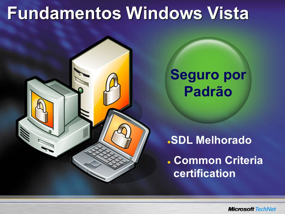 Fundamentos Windows Vista SDL Melhorado Common Criteria certification Seguro por Padrão