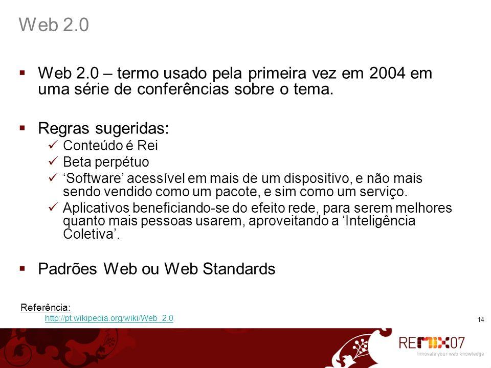 14 Web 2.0 Web 2.0 – termo usado pela primeira vez em 2004 em uma série de conferências sobre o tema. Regras sugeridas: Conteúdo é Rei Beta perpétuo S