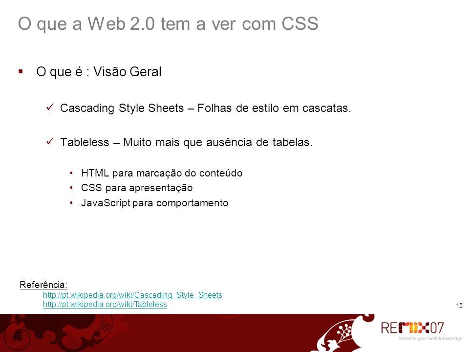 15 O que a Web 2.0 tem a ver com CSS O que é : Visão Geral Cascading Style Sheets – Folhas de estilo em cascatas. Tableless – Muito mais que ausência