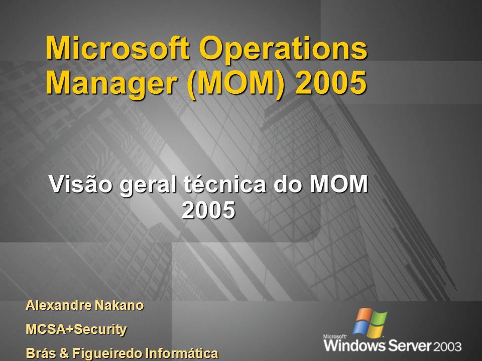 Microsoft Operations Manager (MOM) 2005 Visão geral técnica do MOM 2005 Alexandre Nakano MCSA+Security Brás & Figueiredo Informática