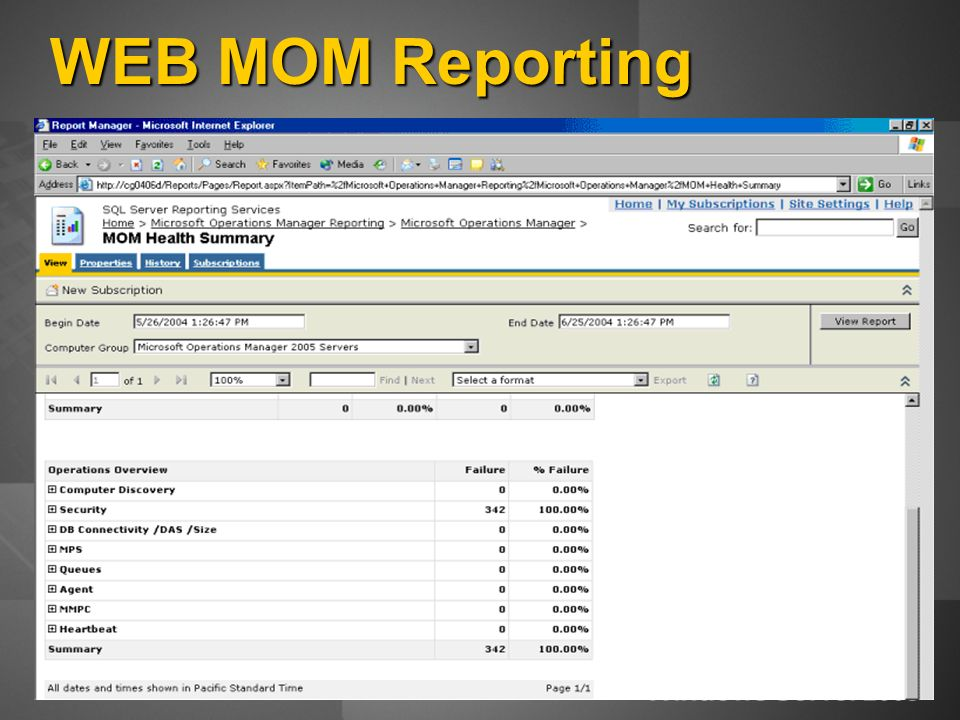 WEB MOM Reporting
