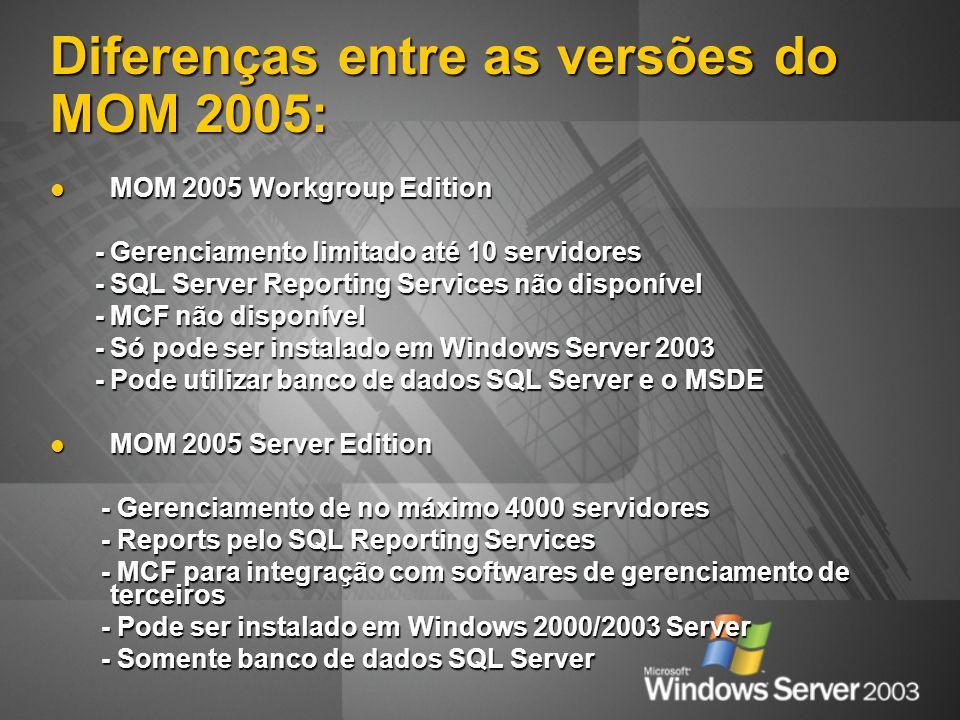 Diferenças entre as versões do MOM 2005: MOM 2005 Workgroup Edition MOM 2005 Workgroup Edition - Gerenciamento limitado até 10 servidores - Gerenciamento limitado até 10 servidores - SQL Server Reporting Services não disponível - SQL Server Reporting Services não disponível - MCF não disponível - MCF não disponível - Só pode ser instalado em Windows Server 2003 - Só pode ser instalado em Windows Server 2003 - Pode utilizar banco de dados SQL Server e o MSDE - Pode utilizar banco de dados SQL Server e o MSDE MOM 2005 Server Edition MOM 2005 Server Edition - Gerenciamento de no máximo 4000 servidores - Gerenciamento de no máximo 4000 servidores - Reports pelo SQL Reporting Services - Reports pelo SQL Reporting Services - MCF para integração com softwares de gerenciamento de terceiros - MCF para integração com softwares de gerenciamento de terceiros - Pode ser instalado em Windows 2000/2003 Server - Pode ser instalado em Windows 2000/2003 Server - Somente banco de dados SQL Server - Somente banco de dados SQL Server