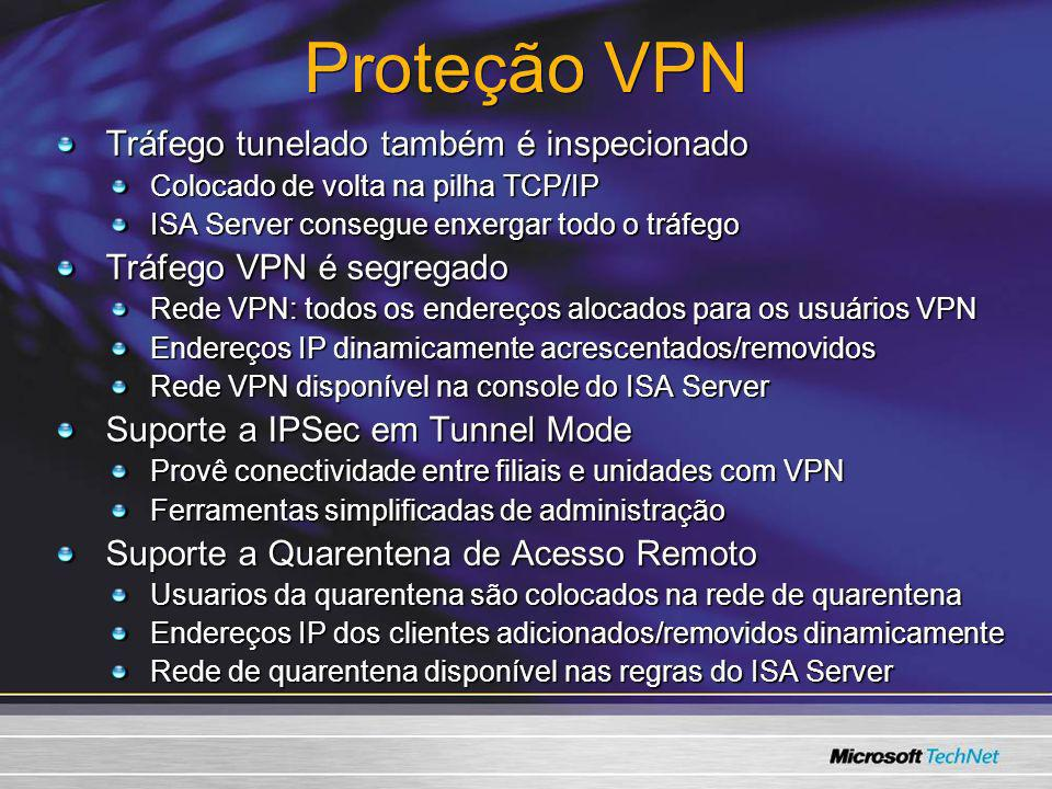 Proteção VPN Tráfego tunelado também é inspecionado Colocado de volta na pilha TCP/IP ISA Server consegue enxergar todo o tráfego Tráfego VPN é segreg