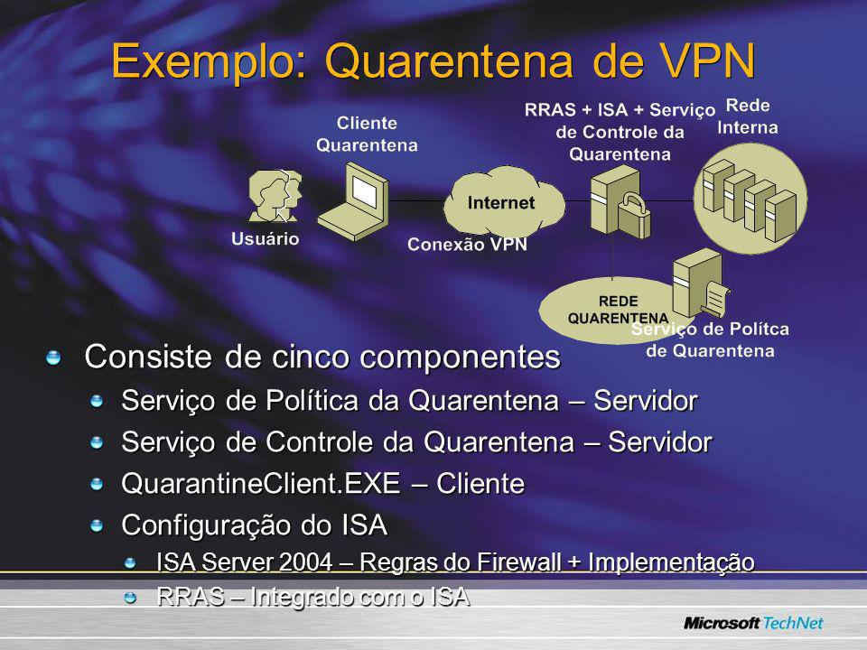 Exemplo: Quarentena de VPN Consiste de cinco componentes Serviço de Política da Quarentena – Servidor Serviço de Controle da Quarentena – Servidor Qua