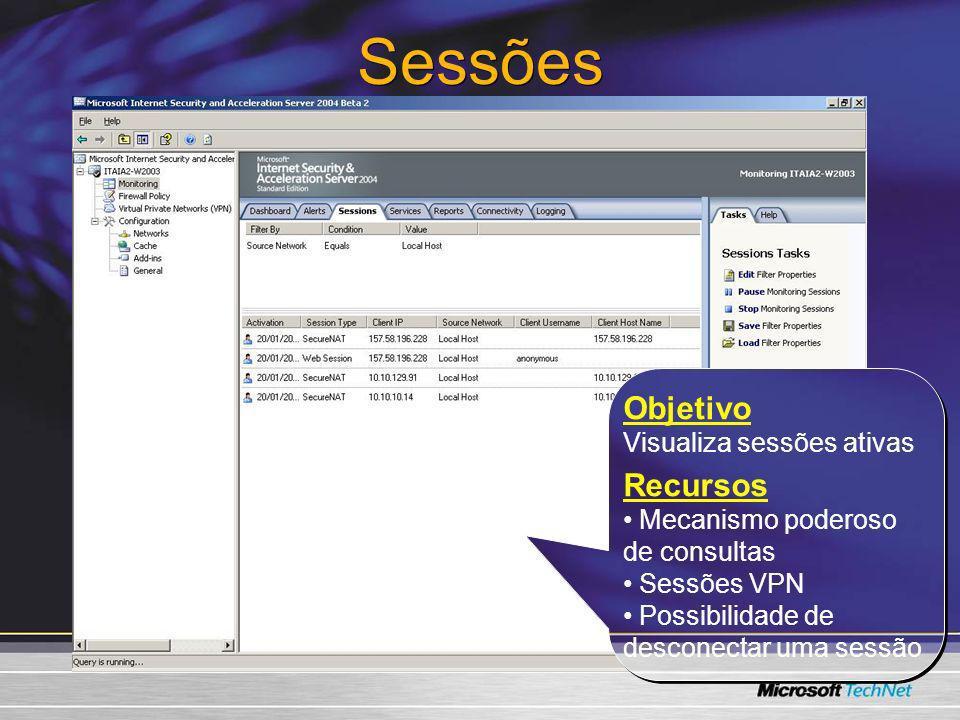Sessões Objetivo Visualiza sessões ativas Recursos Mecanismo poderoso de consultas Sessões VPN Possibilidade de desconectar uma sessão Objetivo Visual