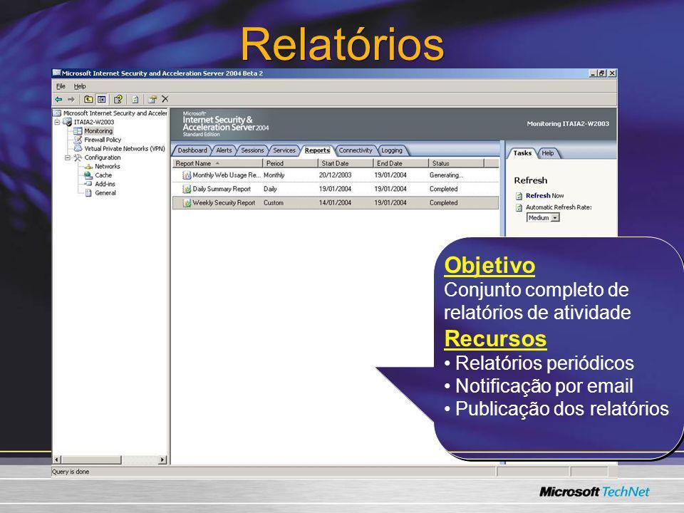 Relatórios Objetivo Conjunto completo de relatórios de atividade Recursos Relatórios periódicos Notificação por email Publicação dos relatórios Objeti