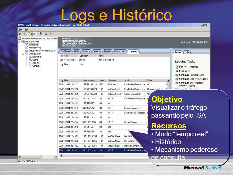 Logs e Histórico Objetivo Visualizar o tráfego passando pelo ISA Recursos Modo tempo real Histórico Mecanismo poderoso de consulta Objetivo Visualizar