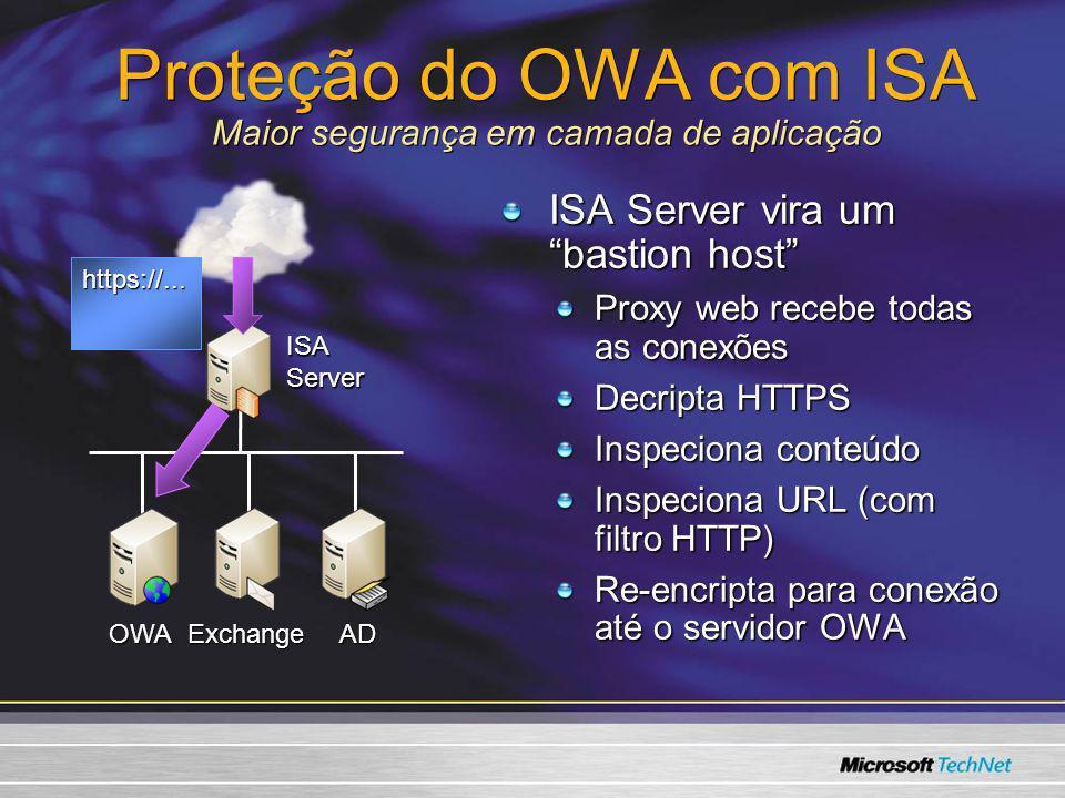 Proteção do OWA com ISA Maior segurança em camada de aplicação ISA Server vira um bastion host Proxy web recebe todas as conexões Decripta HTTPS Inspe
