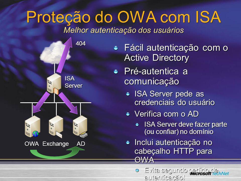 Proteção do OWA com ISA Melhor autenticação dos usuários Fácil autenticação com o Active Directory Pré-autentica a comunicação ISA Server pede as cred