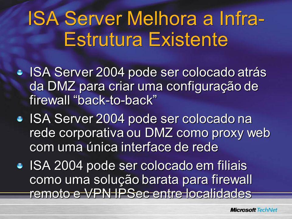 ISA Server Melhora a Infra- Estrutura Existente ISA Server 2004 pode ser colocado atrás da DMZ para criar uma configuração de firewall back-to-back IS