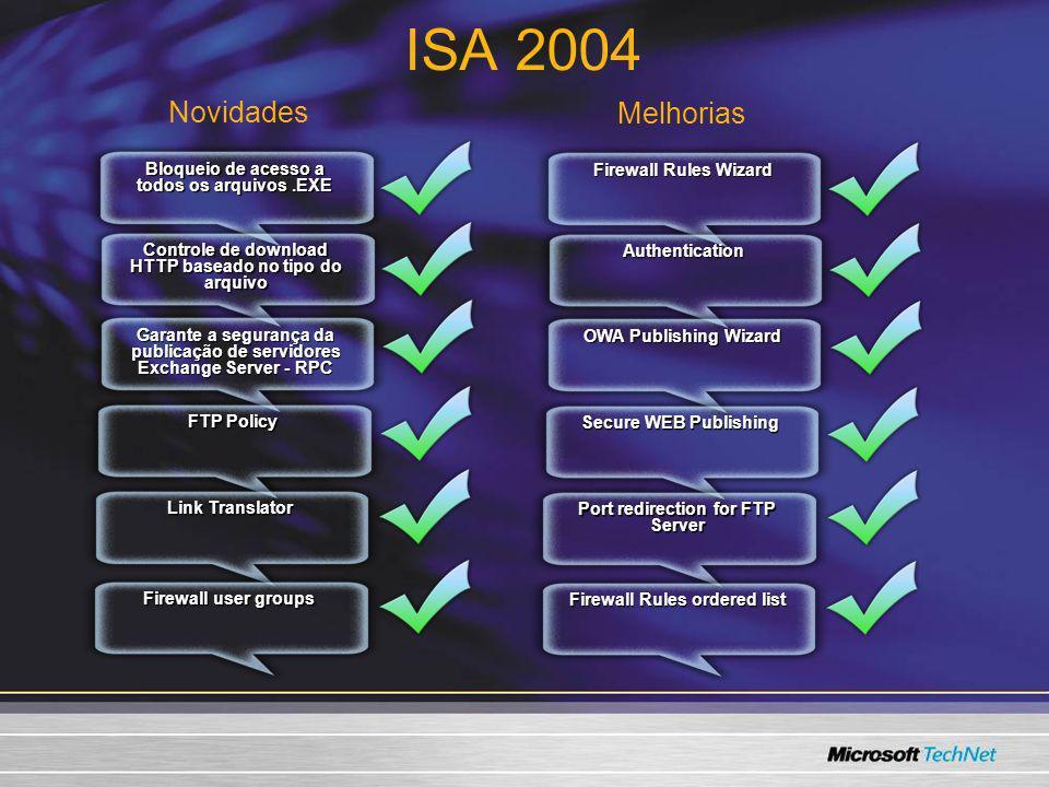 Bloqueio de acesso a todos os arquivos.EXE ISA 2004 Controle de download HTTP baseado no tipo do arquivo Garante a segurança da publicação de servidor