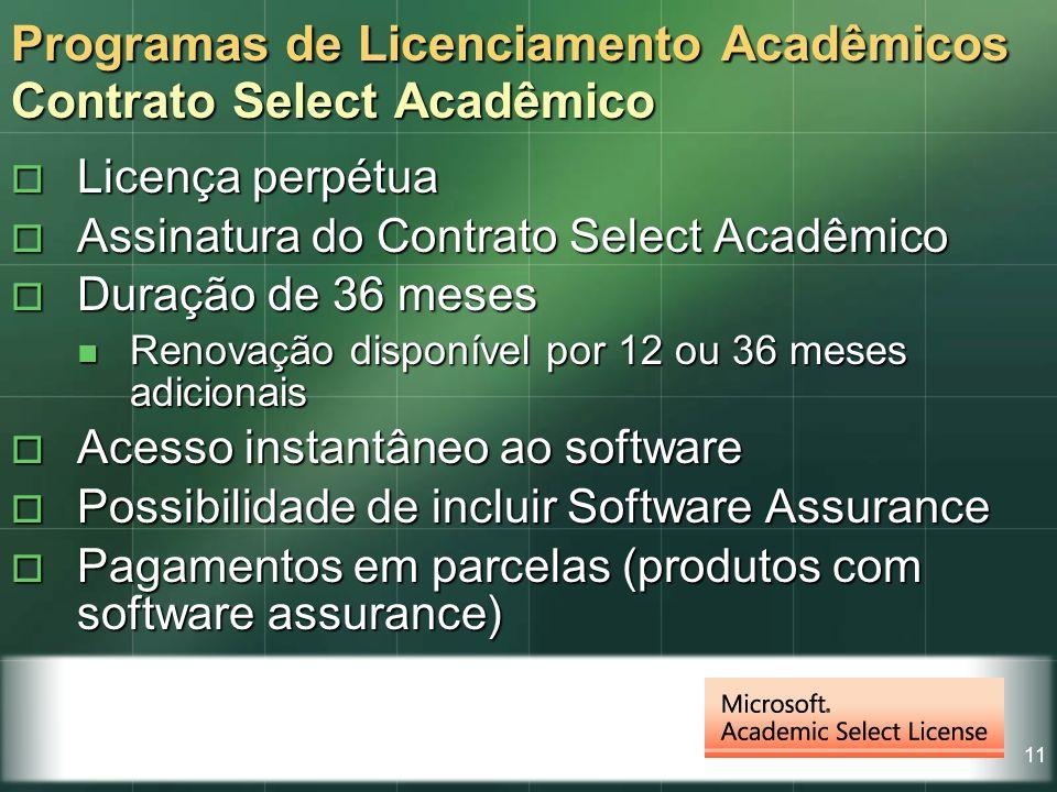 11 Licença perpétua Licença perpétua Assinatura do Contrato Select Acadêmico Assinatura do Contrato Select Acadêmico Duração de 36 meses Duração de 36