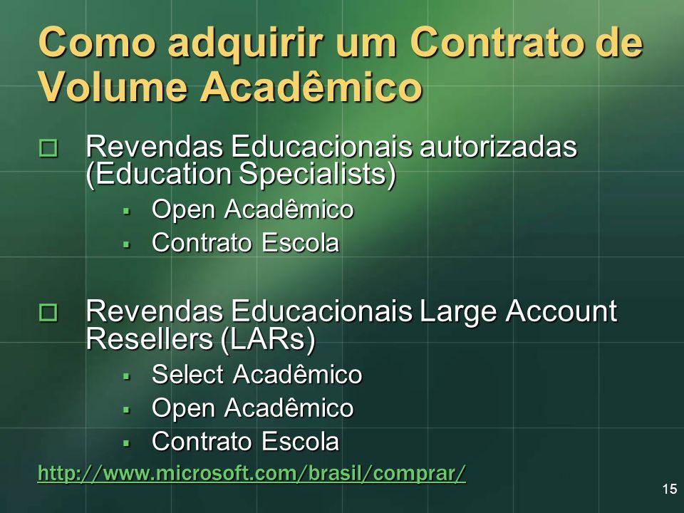 15 Como adquirir um Contrato de Volume Acadêmico Revendas Educacionais autorizadas (Education Specialists) Revendas Educacionais autorizadas (Educatio
