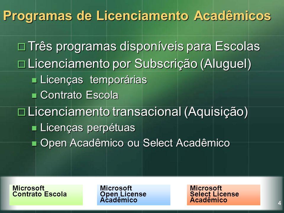 4 Programas de Licenciamento Acadêmicos Três programas disponíveis para Escolas Três programas disponíveis para Escolas Licenciamento por Subscrição (