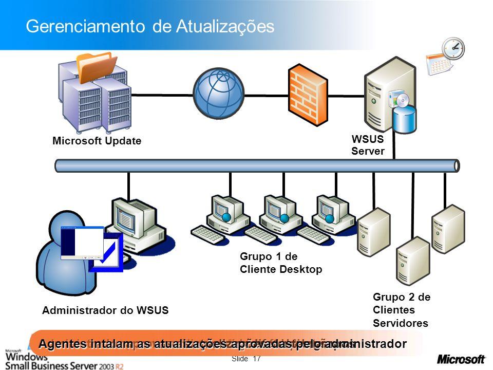 Slide 17 Administrador assina as categorias de atualização Servidor baixa atualizações do Microsoft Update Clientes registram-se com o servidor Admini