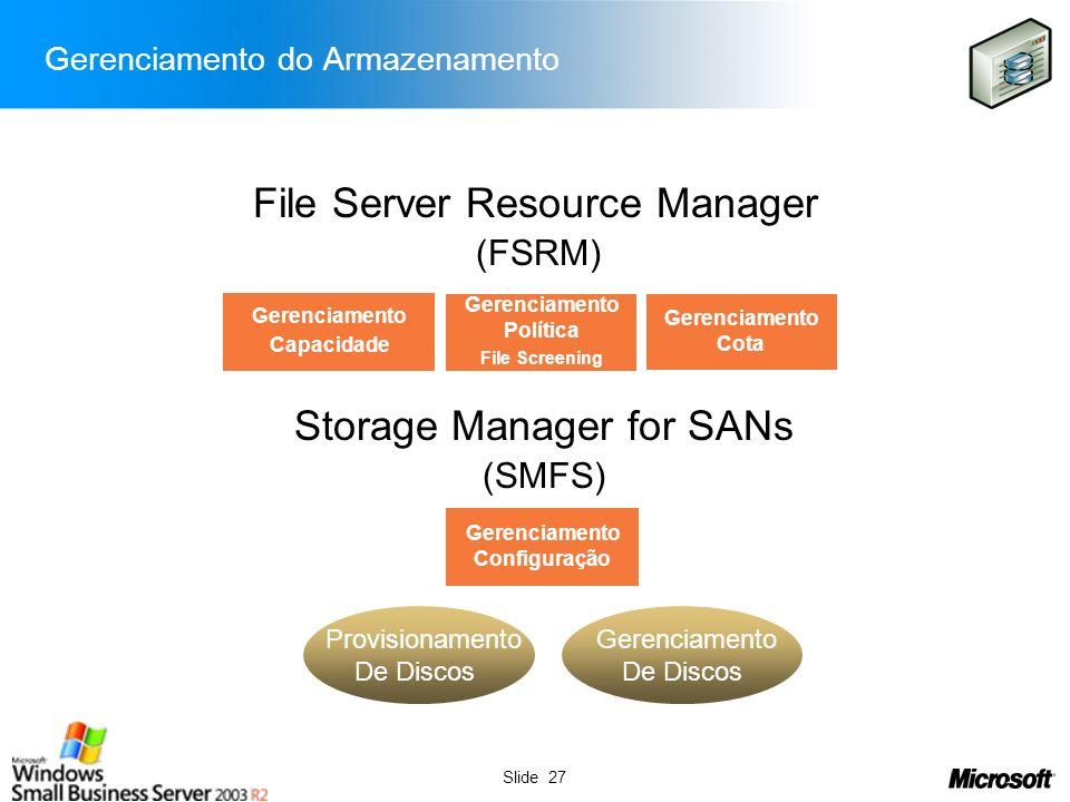 Slide 27 (FSRM) (SMFS) Gerenciamento Capacidade Gerenciamento Política File Screening Gerenciamento Cota Gerenciamento Configuração File Server Resour