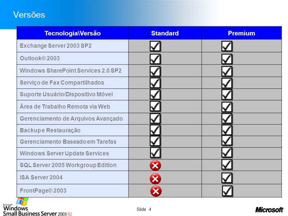 Slide 4 Versões Tecnologia\VersãoStandardPremium Exchange Server 2003 SP2 Outlook® 2003 Windows SharePoint Services 2.0 SP2 Serviço de Fax Compartilha