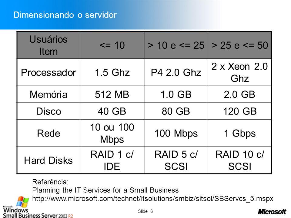 Slide 6 Dimensionando o servidor Usuários Item <= 10> 10 e <= 25> 25 e <= 50 Processador1.5 GhzP4 2.0 Ghz 2 x Xeon 2.0 Ghz Memória512 MB1.0 GB2.0 GB D