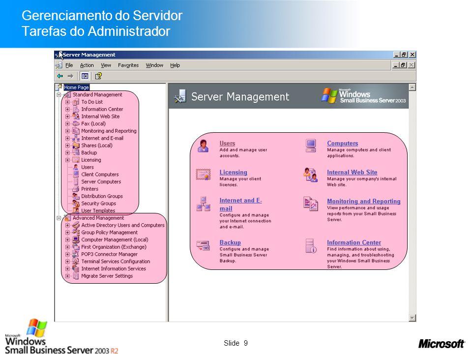 Slide 9 Gerenciamento do Servidor Tarefas do Administrador