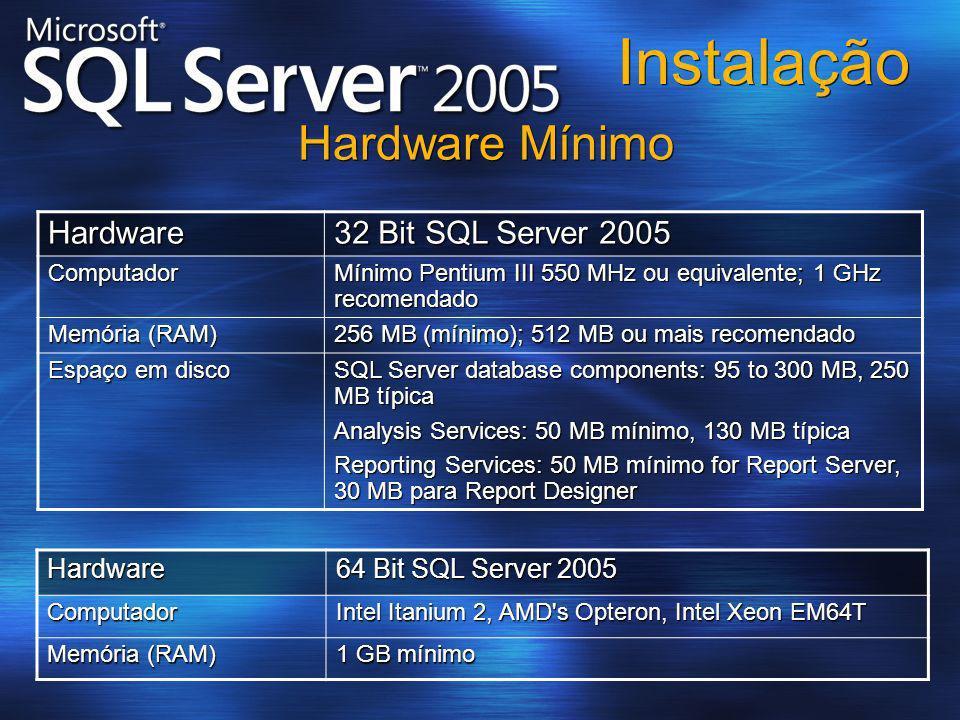 Instalação Hardware 32 Bit SQL Server 2005 Computador Mínimo Pentium III 550 MHz ou equivalente; 1 GHz recomendado Memória (RAM) 256 MB (mínimo); 512
