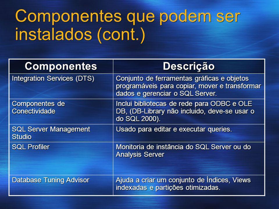 Componentes que podem ser instalados (cont.) Componentes Descrição Integration Services (DTS) Conjunto de ferramentas gráficas e objetos programáveis