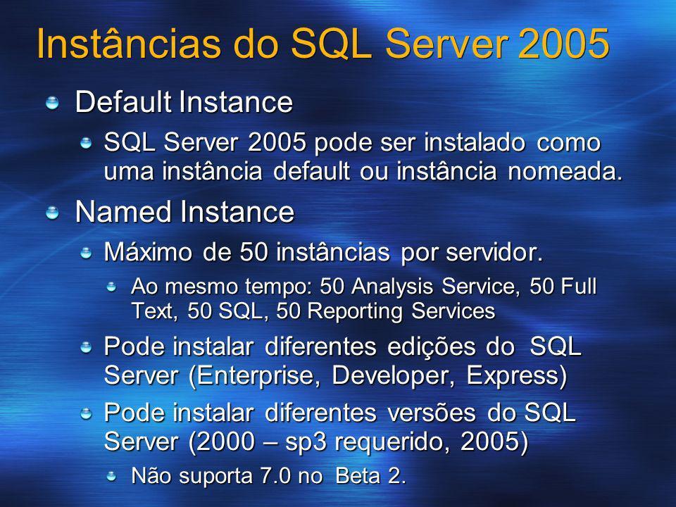 Instâncias do SQL Server 2005 Default Instance SQL Server 2005 pode ser instalado como uma instância default ou instância nomeada. Named Instance Máxi