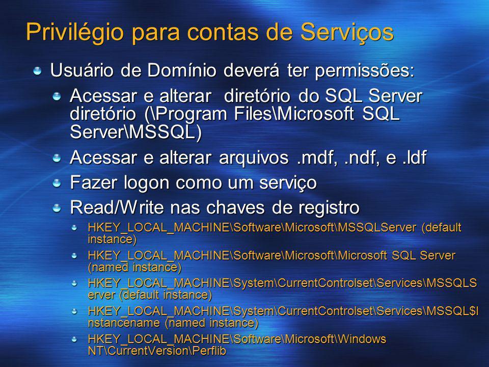 Privilégio para contas de Serviços Usuário de Domínio deverá ter permissões: Acessar e alterar diretório do SQL Server diretório (\Program Files\Micro