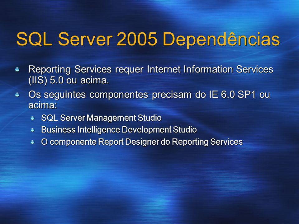 SQL Server 2005 Dependências Reporting Services requer Internet Information Services (IIS) 5.0 ou acima. Os seguintes componentes precisam do IE 6.0 S