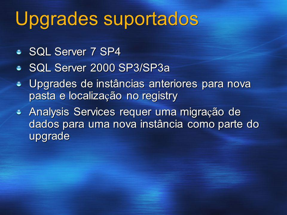 Upgrades suportados SQL Server 7 SP4 SQL Server 2000 SP3/SP3a Upgrades de instâncias anteriores para nova pasta e localiza ç ão no registry Analysis S