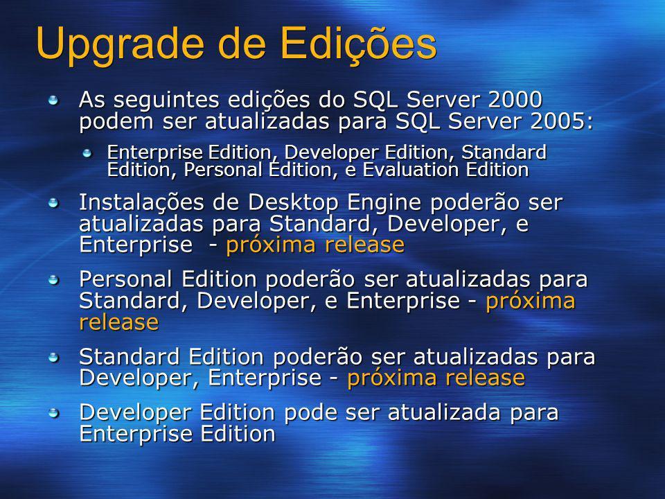 Upgrade de Edições As seguintes edições do SQL Server 2000 podem ser atualizadas para SQL Server 2005: Enterprise Edition, Developer Edition, Standard