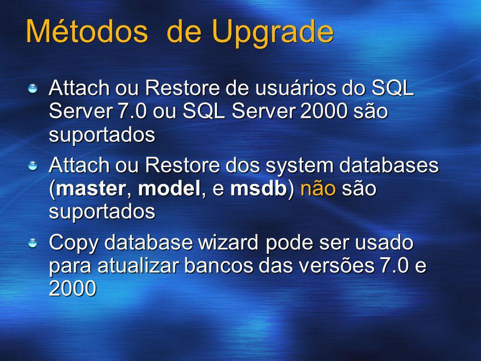 Métodos de Upgrade Attach ou Restore de usuários do SQL Server 7.0 ou SQL Server 2000 são suportados Attach ou Restore dos system databases (master, m