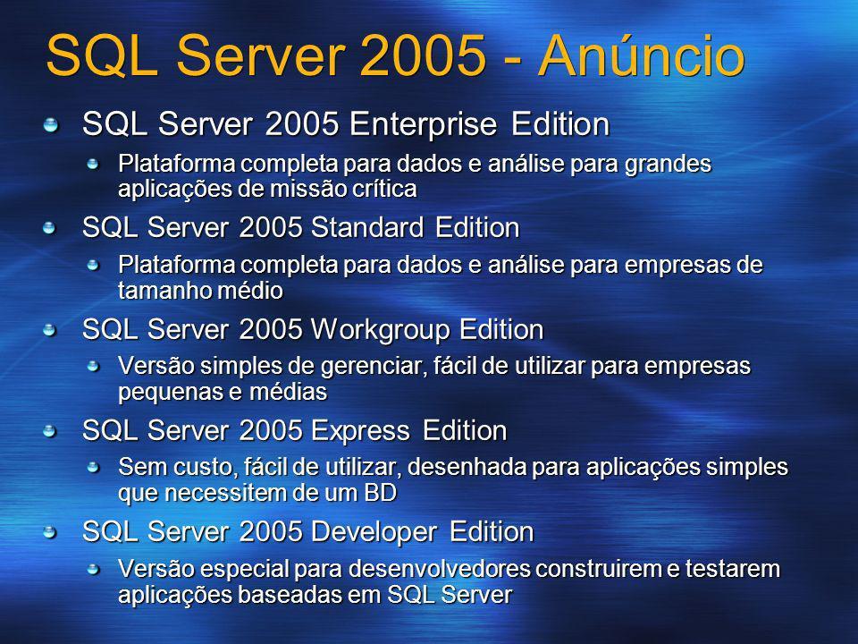 SQL Server 2005 - Anúncio SQL Server 2005 Enterprise Edition Plataforma completa para dados e análise para grandes aplicações de missão crítica SQL Se