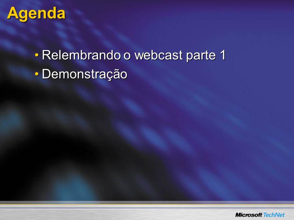 Agenda Relembrando o webcast parte 1Relembrando o webcast parte 1 DemonstraçãoDemonstração