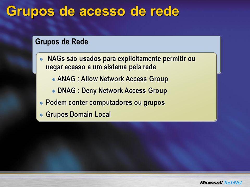 Grupos de acesso de rede Grupos de Rede NAGs são usados para explicitamente permitir ou negar acesso a um sistema pela rede ANAG : Allow Network Access Group ANAG : Allow Network Access Group DNAG : Deny Network Access Group DNAG : Deny Network Access Group Podem conter computadores ou grupos Grupos Domain Local NAGs são usados para explicitamente permitir ou negar acesso a um sistema pela rede ANAG : Allow Network Access Group ANAG : Allow Network Access Group DNAG : Deny Network Access Group DNAG : Deny Network Access Group Podem conter computadores ou grupos Grupos Domain Local