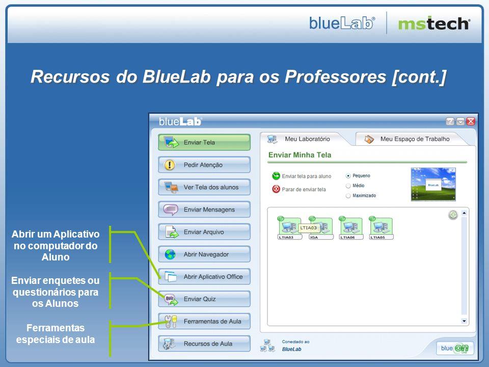 Recursos do BlueLab para os Professores [cont.] Abrir um Aplicativo no computador do Aluno Enviar enquetes ou questionários para os Alunos Ferramentas