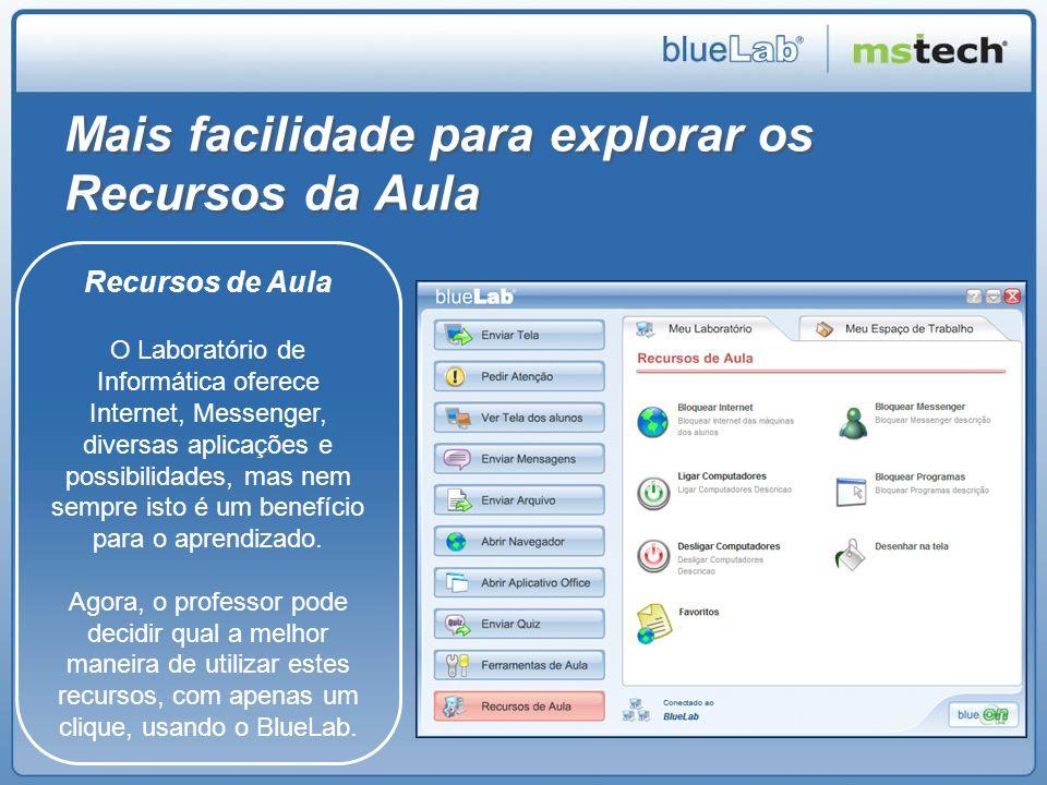 Mais facilidade para explorar os Recursos da Aula Recursos de Aula O Laboratório de Informática oferece Internet, Messenger, diversas aplicações e pos