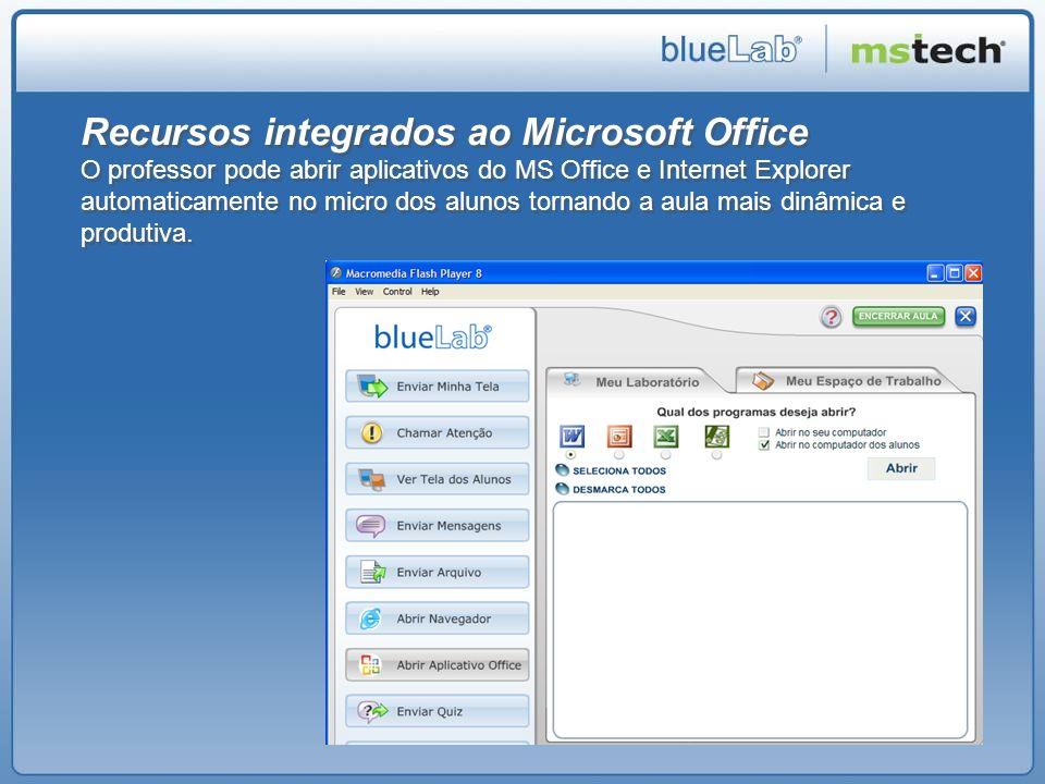 Recursos integrados ao Microsoft Office O professor pode abrir aplicativos do MS Office e Internet Explorer automaticamente no micro dos alunos tornan