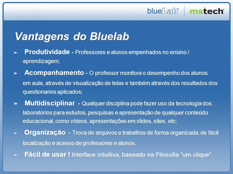 Vantagens do Bluelab Produtividade - Professores e alunos empenhados no ensino / aprendizagem; Acompanhamento - O professor monitora o desempenho dos
