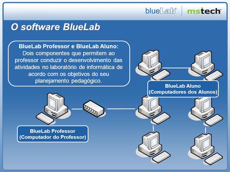 BlueLab Professor O professor pode enviar, de uma só vez e com um só clique, comandos para os demais computadores do laboratório, definindo a forma como os alunos vão desenvolver as atividades utilizando o computador.