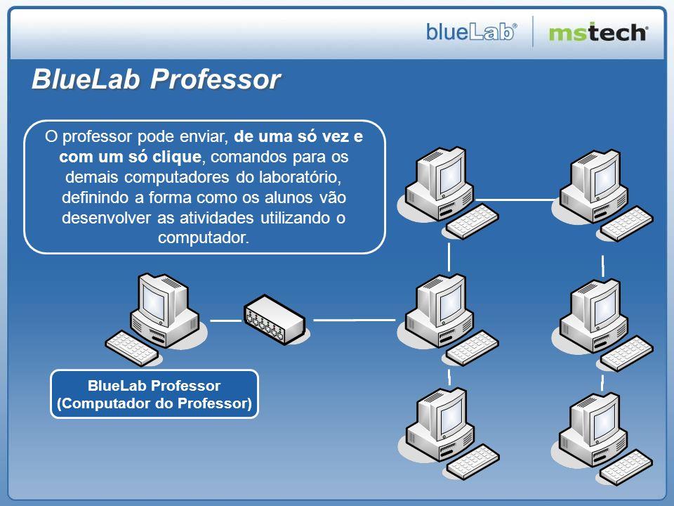 BlueLab Professor O professor pode enviar, de uma só vez e com um só clique, comandos para os demais computadores do laboratório, definindo a forma co