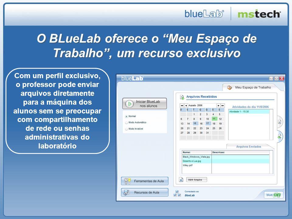 O BLueLab oferece o Meu Espaço de Trabalho, um recurso exclusivo Com um perfil exclusivo, o professor pode enviar arquivos diretamente para a máquina